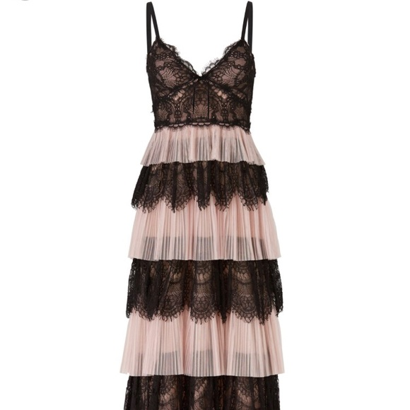 Marchesa Notte Tiered Tulle Lace Dress Nwt